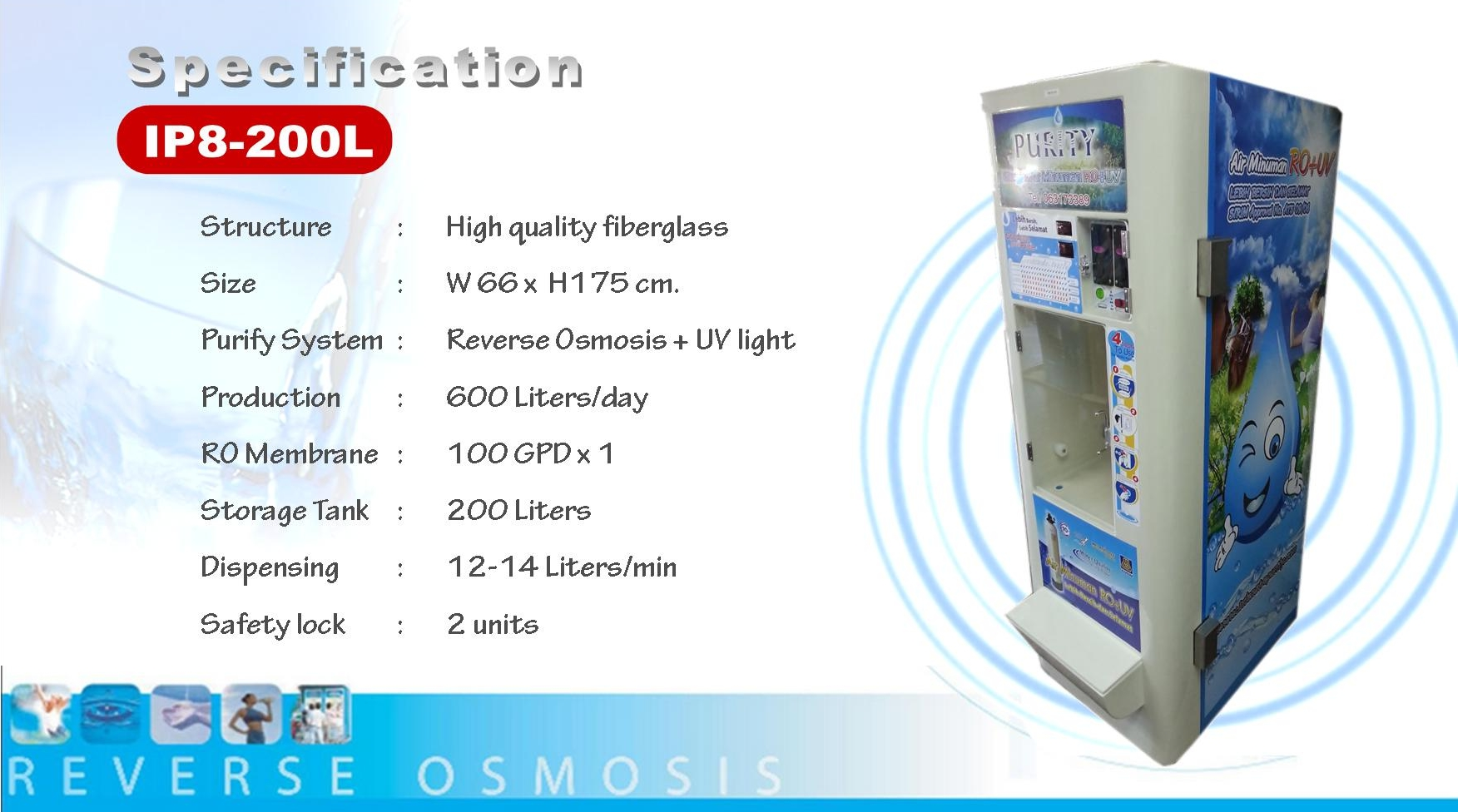 water vending machine in Malaka Maysia, Malacca, RO, Reverse Osmisis, UV light, coin operated product